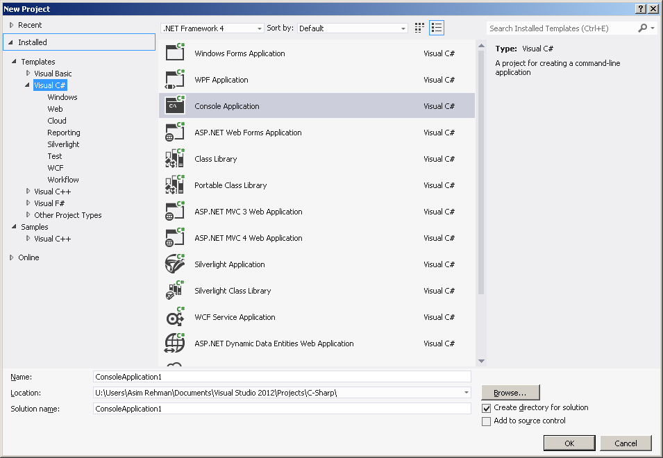 Visual Studio 2012 Integrated Development Environment (IDE