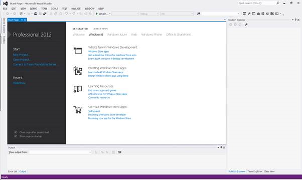 Visual Studio 2012 - IDE Start Page
